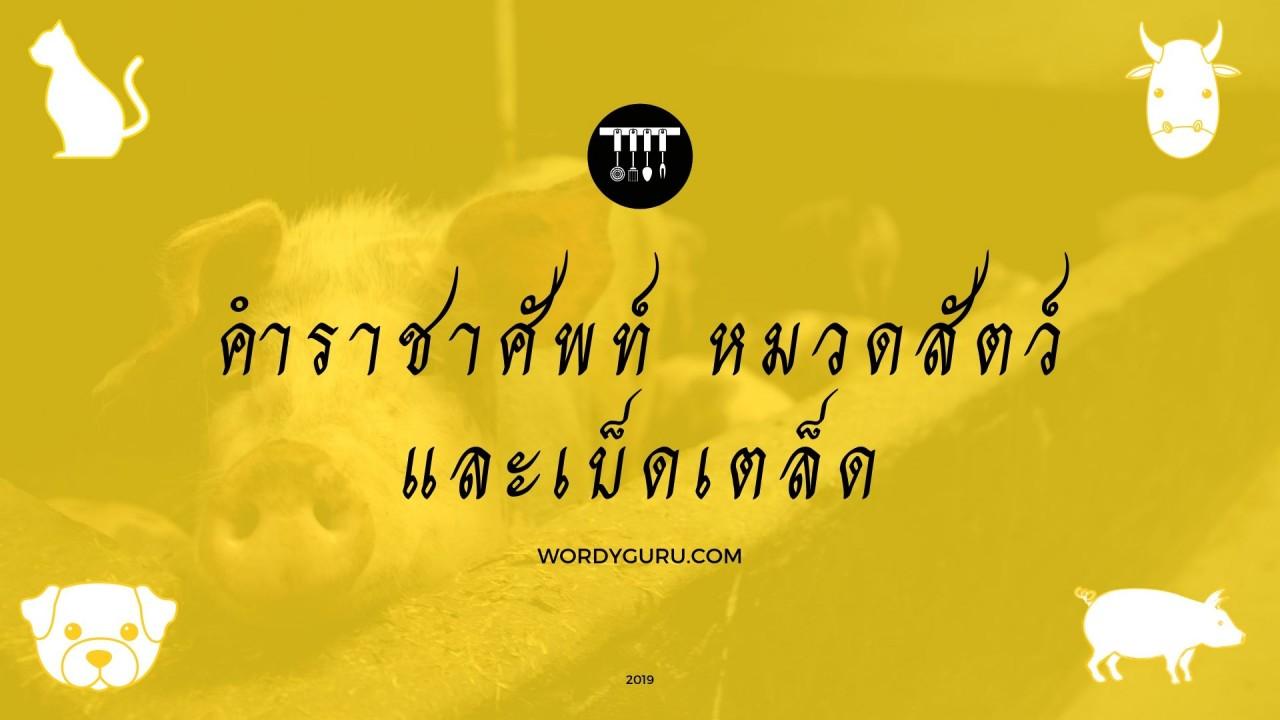 คำราชาศัพท์ หมวดสัตว์และเบ็ดเตล็ด - คำราชาศัพท์   Wordy Guru